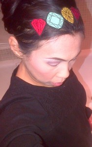 Wearing my new 'gemstone' vintage hairband