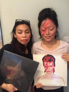 With my client wearing Bowie Aladdin Sane makeup