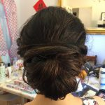 Low bun (half up)